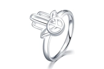 .925 Hand Of Peace Ring-Silver   Size US 6