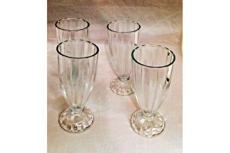 4 Ice Cream Sundae Milkshake Glass Saucers Dessert Starter Dishwasher Safe