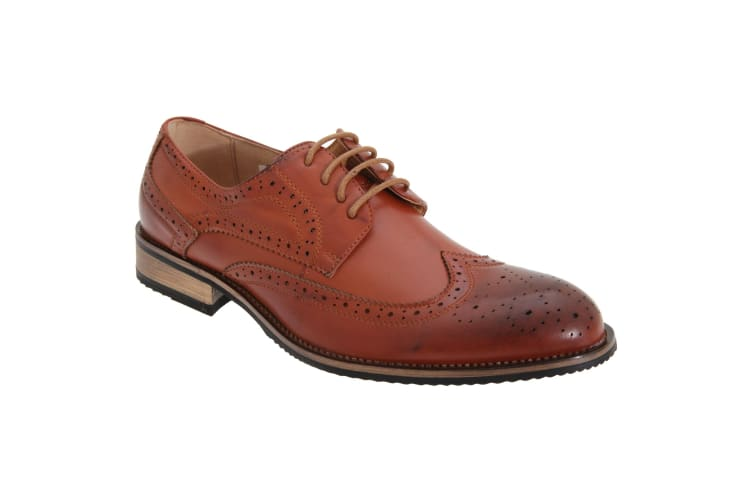 Route 21 Mens 4 Eyelet Brogue Tie Shoes (Tan Burnished) (6 UK)