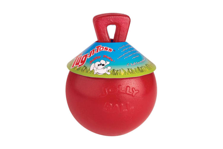 Horsemens Pride Jolly Ball Tug-N-Toss Dog Toy (Red) (6in)