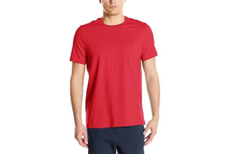 Tommy Hilfiger Men's Crew Neck Flag Tee (Mahogany, Size S)