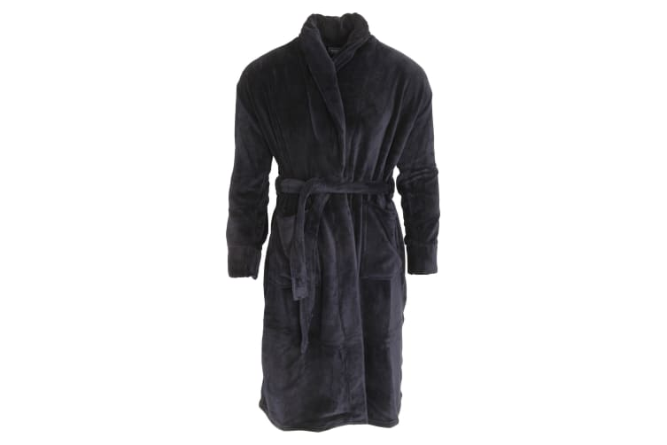 Harvey James Mens Supersoft Dressing Gown/Robe (Navy) (L)