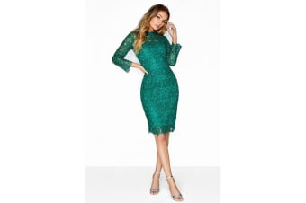 Paper Dolls Womens/Ladies Sequin Shimmer Lace Dress (Jade Green)