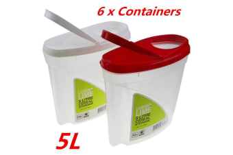 6 x 5L Flip Top Lid Cereal Dispenser Plastic Food Storage Container Box BPA FREE