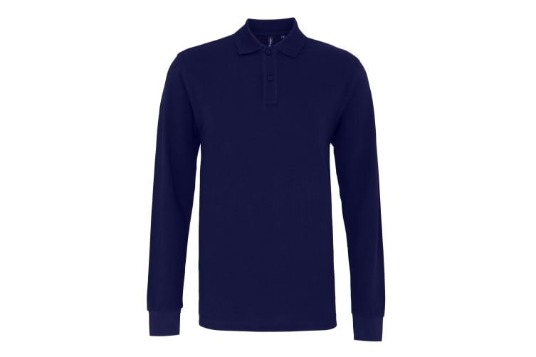 Asquith & Fox Mens Classic Fit Long Sleeved Polo Shirt (Navy) (XL)