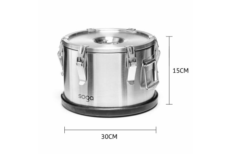 SOGA 304 30*15cm Stainless Steel Insulated Food Carrier Food Warmer