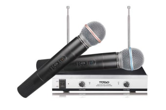 Wireless Microphone Vhf Dual Channel Twin Mic 30M Range Tjp-Hh61