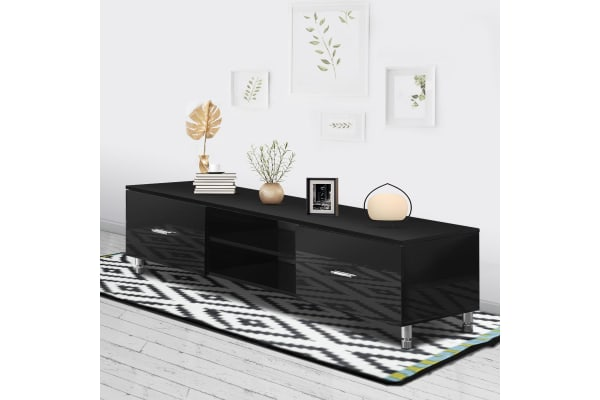 High Gloss Finish Wooden Living Room TV Stand - Black