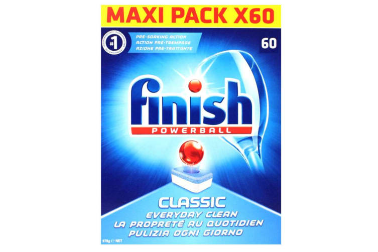60PK Finish Tabs Classic Powerball Tablets for Dishwasher Dishwashing Detergent