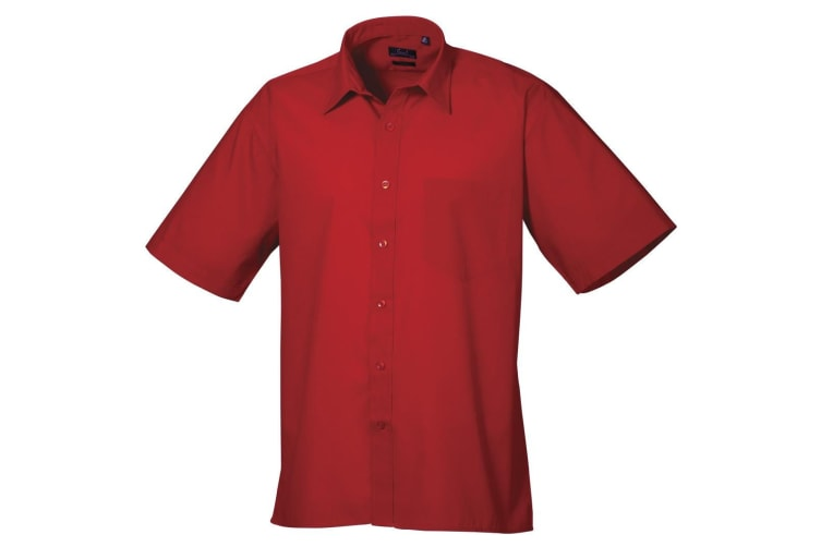 Premier Mens Short Sleeve Formal Poplin Plain Work Shirt (Red) (17.5)