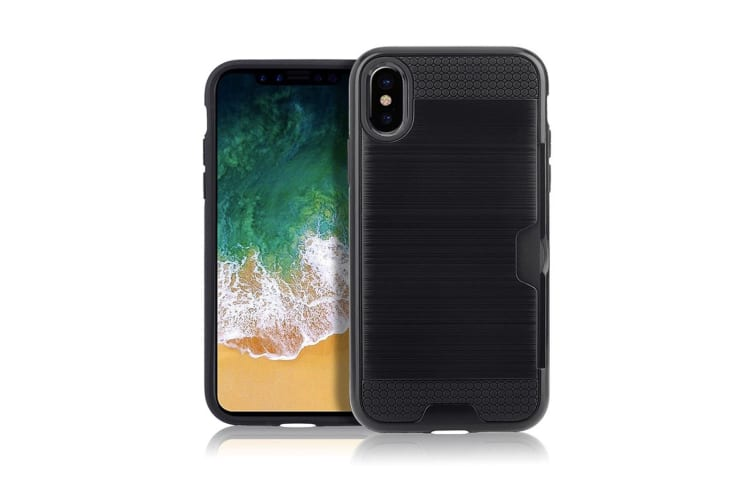 For iPhone XS Max Case Black Brushed Texture TPU PC Protective Back Cover