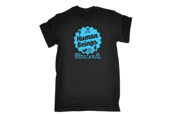 123T Funny Tee - Earths Human Beings - (5X-Large Black Mens T Shirt)