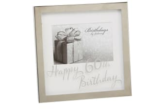 Widdop Birthdays By Juliana Mirror Happy 60th Birthday Print Box Photo Frame (Silver) (6x4 inch)
