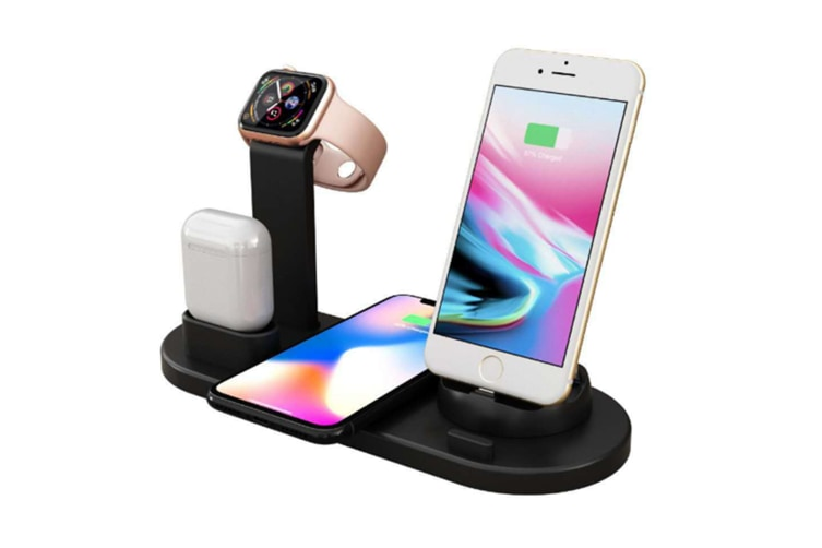 Select Mall Applicable To Apple Mobile Phone Headset 3 In 1 Wireless Charging Bracket Fast Wireless Charging-Black