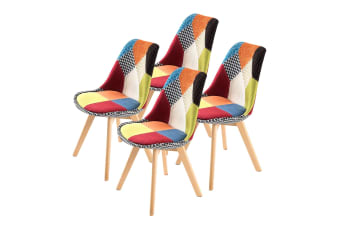 Replica Eames Fabric Padded Dining Chair - MULTI X4