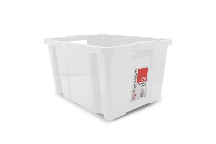 6 x Large Stackable Crate 45X35X25CM Box Storage Plastic Container Handle