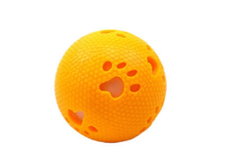 Select Mall 2PCS Creative Pet Toy Footprints Glow Ball Vocal Ball 7.5cm Bite Resistant Natural Rubber Toy Suitable for Puppy Kitten-Orange