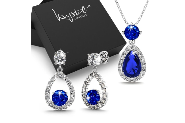 Boxed Bloom Navy Blue Created Diamonds Necklace and Earrings set