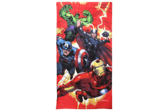 Marvel Childrens Boys Avengers Characters Printed Velour Beach Towel (Multi Coloured)
