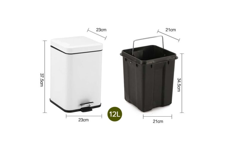 SOGA 4X 12L Foot Pedal Stainless Steel Rubbish Recycling Garbage Waste Trash Bin Square White