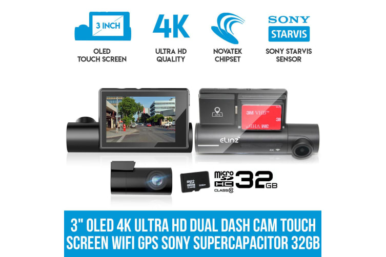 """Elinz 3"""" OLED 4K Ultra HD Dual Dash Cam Touch Screen WiFi Reversing Camera GPS Sony Supercapacitor 32GB"""