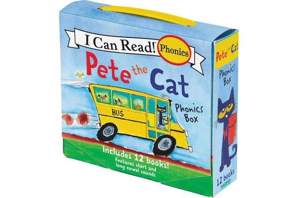 Pete The Cat Phonics Box - Includes 12 Mini-Books Featuring Short and Long Vowel Sounds