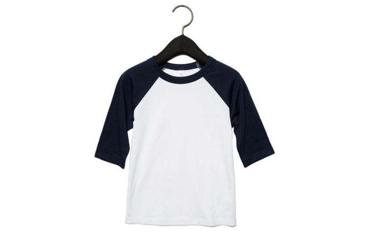 Bella + Canvas Youths 3/4 Sleeve Baseball T-Shirt (White/Navy) (S)
