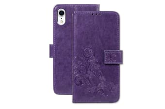 For iPhone XR Case Puple Embossed PU Leather  TPU Wallet Cover 2 Card Slots