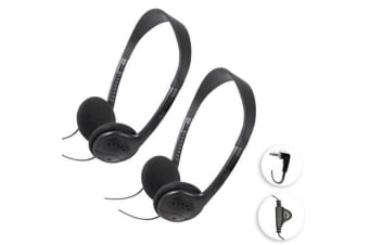 2pc Sansai Stereo Headphones 3.5mm w/Volume Control/Cable 1.5m for TV/Radio