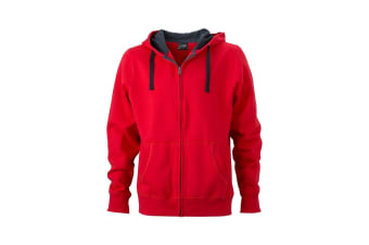 James and Nicholson Mens Hooded Jacket (Red/Carbon) (M)