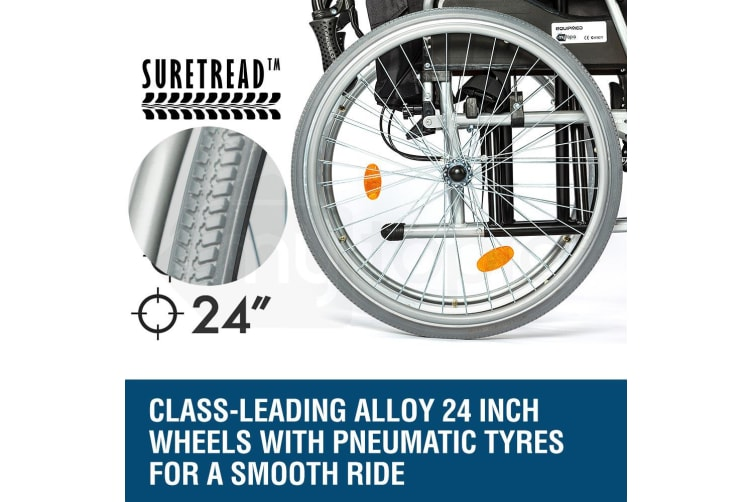 EQUIPMED 24 Inch Folding Wheelchair Alloy with Brakes Folding Armrests for Dining