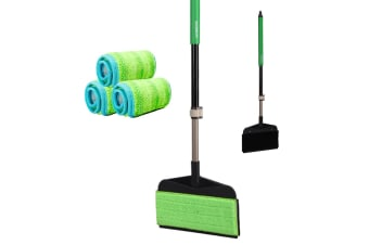 Boomjoy E8 Dust Sweeper Mop Double Side w/ 3pcs Replacement Microfiber Cloth