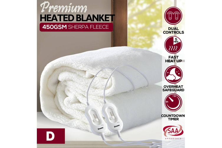 DreamZ 450 GSM Fleecy Electric Blanket Heated Warm Winter Fitted Double Size