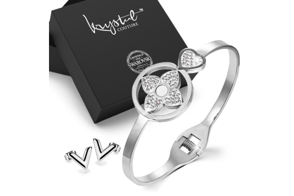 2pc White Gold Layered Jewellery Gift Set-White Gold/Clear