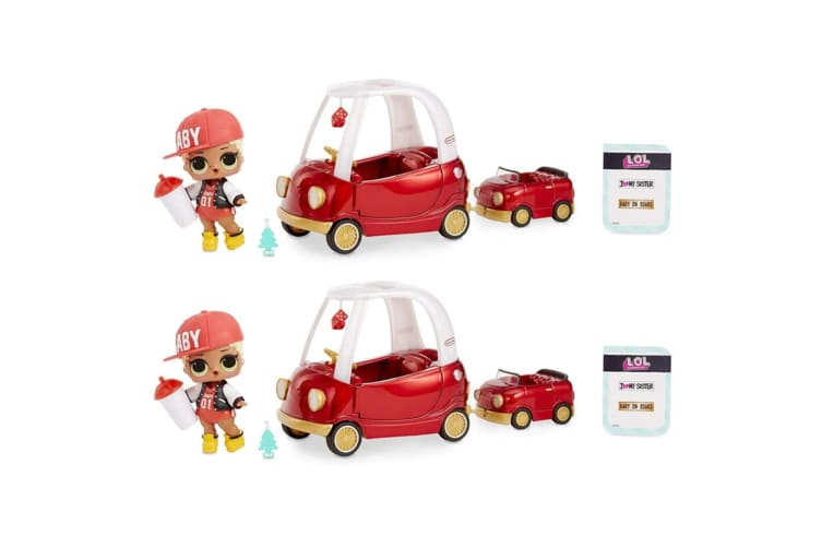 2x LOL Surprise Furniture Cozy Coupe Playset w/Swag/Car/Sticker/Fashion/Bottle
