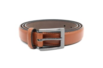 Duke Mens Anthony Square Buckle Edge Stitched Leather Belt (Tan) (60in)
