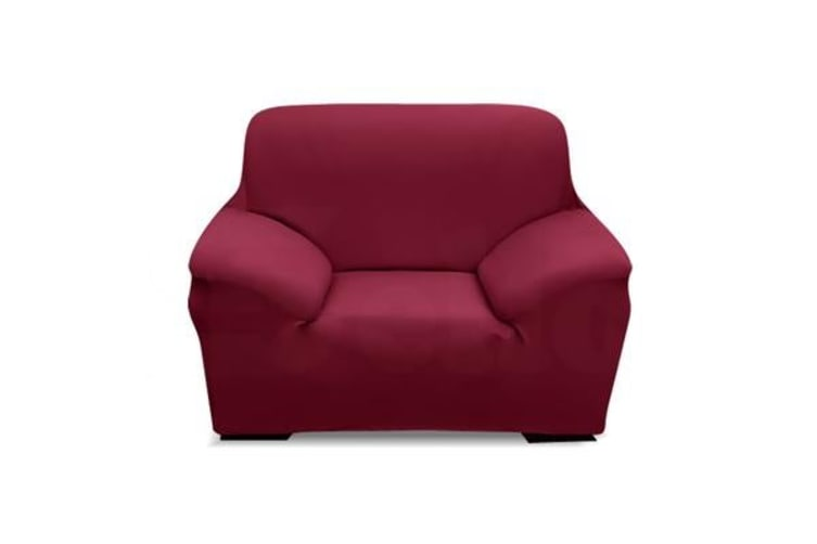Easy Fit Stretch 1 Seater Couch Sofa Slipcover BURGUNDY