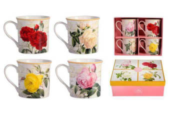 Leonardo Collection Set of 4 Assorted Mugs Rose Fine China Multicolour Gift Box