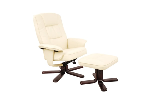 PU Leather Lounge Recliner Chair Ottoman (Beige)