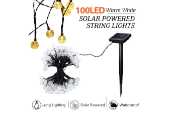 Solar Fairy Lights String Lights Christmas Decorations with 100 LED Crystal Balls Warm White