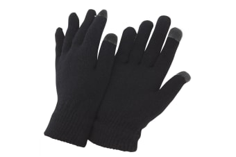 FLOSO Mens IPhone/iPad Mobile Touch Screen Winter Magic Gloves (Black) (One size)