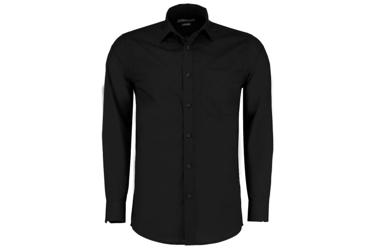 Kustom Kit Mens Long Sleeve Poplin Shirt (Black) (18.5)