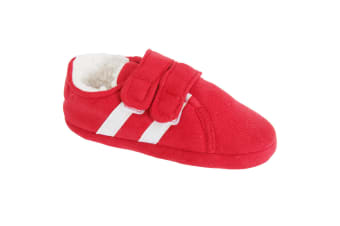 Slumberzzz Childrens/Kids Double Stripe Double Strap Slippers (Red)
