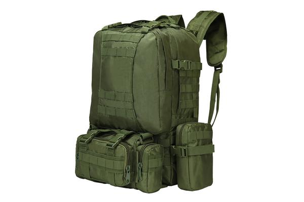 55L Hiking Camping Military Backpack GREEN