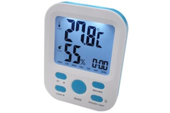 Electronic Digital Thermometer Hygrometer Alarm Clock Lcd Display ?C/?F %Rh Blue
