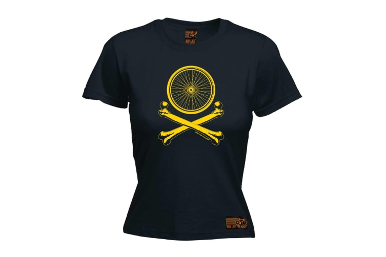 Ride Like The Wind Cycling Tee - Wheel Crossbones - (Large Black Womens T Shirt)