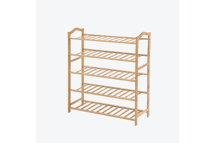 Levede Bamboo Shoe Rack Storage Wooden Organizer Shelf Stand 5 Tiers Layers 90cm