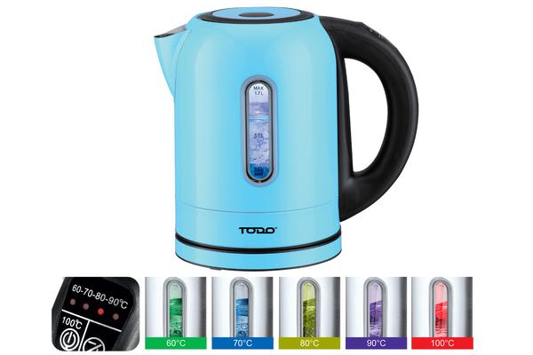 TODO 1.7L Stainless Steel Cordless Kettle Keep Warm Electric Led Water Jug Blue