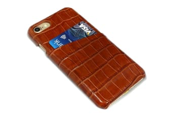 For iPhone 8 7 Case iCoverLover Crocodile Shell Genuine Cow Leather Light Brown