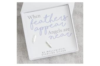 Sterling Silver Feather Stud Earrings (Silver) (One Size)